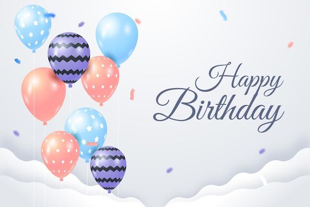 Fundo de feliz aniversário com balões e confetes