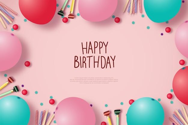 Fundo de feliz aniversário com balões e fundo rosa