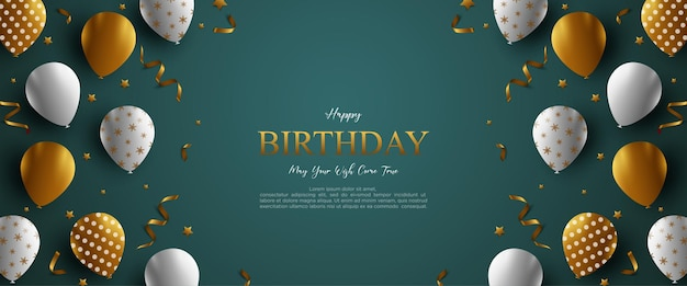 Fundo de feliz aniversário com balões e fundo verde