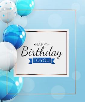 Fundo de feliz aniversário com balões. ilustração