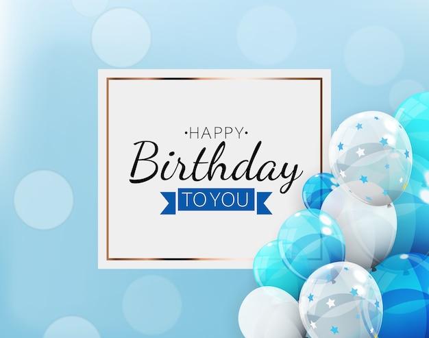 Fundo de feliz aniversário com balões.