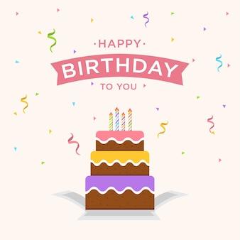 Fundo de feliz aniversário com bolo e confete