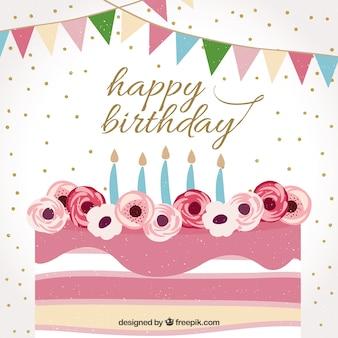 Fundo de feliz aniversario com bolo vintage bonito