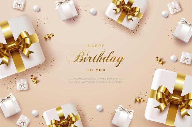 Fundo de feliz aniversário com caixa de presente com faixas de ouro