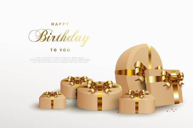 Fundo de feliz aniversário com caixa de presente de fita de ouro brilhante.