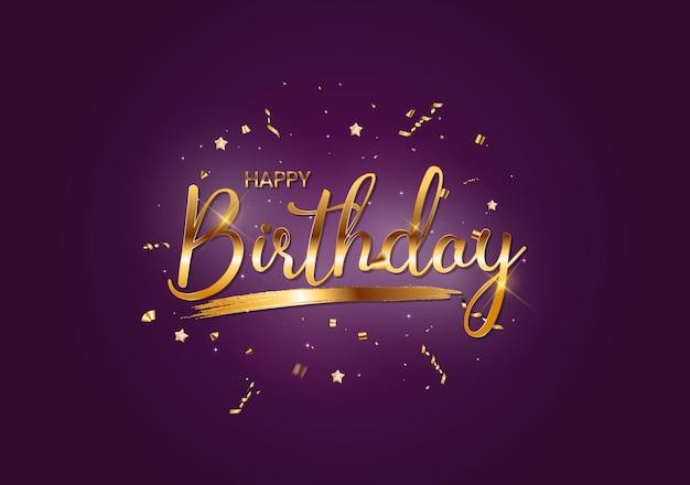 Fundo de feliz aniversário com confete dourado e luzes de bokeh cintilante. ilustração vetorial eps10