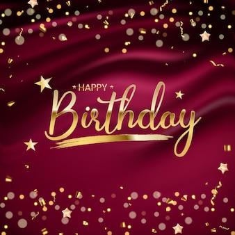 Fundo de feliz aniversário com confete dourado e luzes de bokeh cintilante. ilustração vetorial