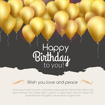 Fundo de feliz aniversário com convite de festa de balões dourados