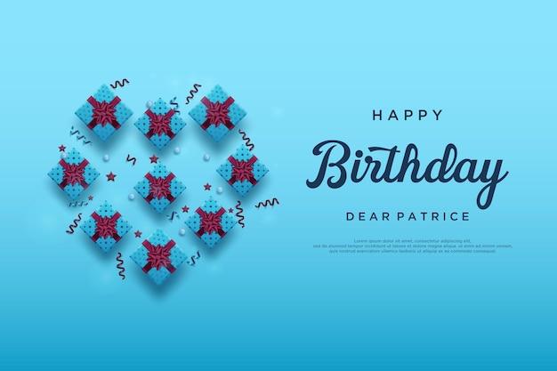Fundo de feliz aniversário com fundo azul brilhante e algumas caixas de presente