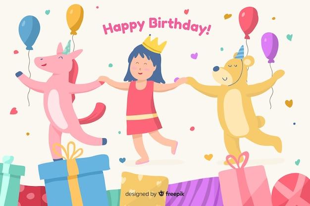 Fundo de feliz aniversário com ilustração bonitinha