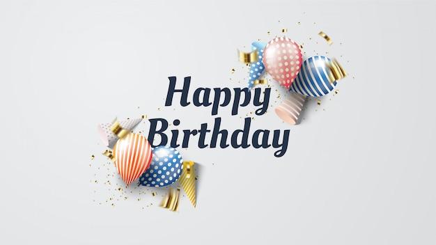 Fundo de feliz aniversário com ilustrações de balão colorido com escrita cinza escura.