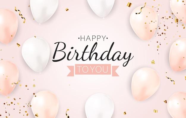 Fundo de feliz aniversário com moldura de balões realistas e confetes