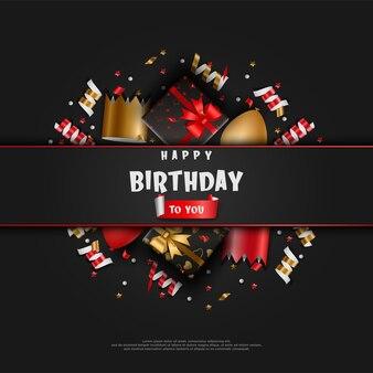Fundo de feliz aniversário com suprimentos de aniversário