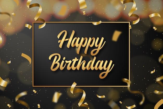 Fundo de feliz aniversário com texto dourado e confetes