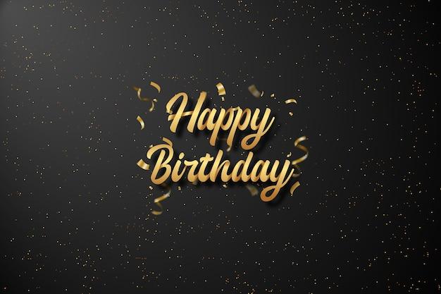 Fundo de feliz aniversário com texto dourado em preto