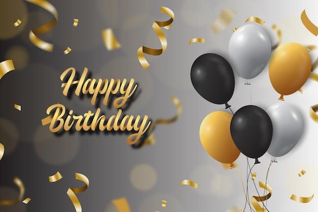 Fundo de feliz aniversário com texto dourado