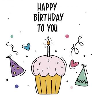 Fundo de feliz aniversário com um cupcake de mão desenhada