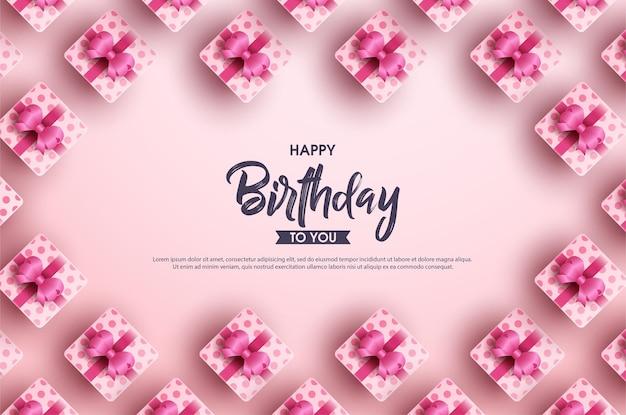 Fundo de feliz aniversário com várias caixas de presente de fita em um fundo rosa