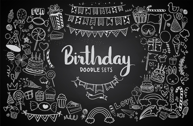 Fundo de feliz aniversário. conjuntos de aniversário desenhados à mão, estouros de festa, chapéus de festa, caixas de presente e arcos. ilustração vetorial textura de giz isolada em fundo preto