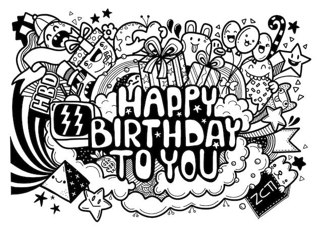 Fundo de feliz aniversário. conjuntos de aniversário desenhados à mão, explosões de festa, fundo de festa de aniversário doodle, estilo fofo, ilustração para livro de colorir, cada um em uma camada separada.