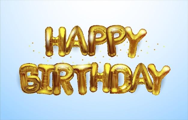 Fundo de feliz aniversário de balões de ouro.