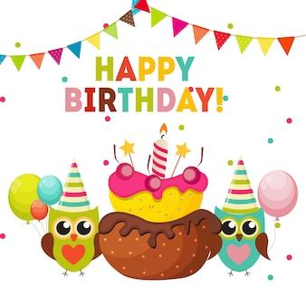 Fundo de feliz aniversário de coruja fofa com balões e lugar para y
