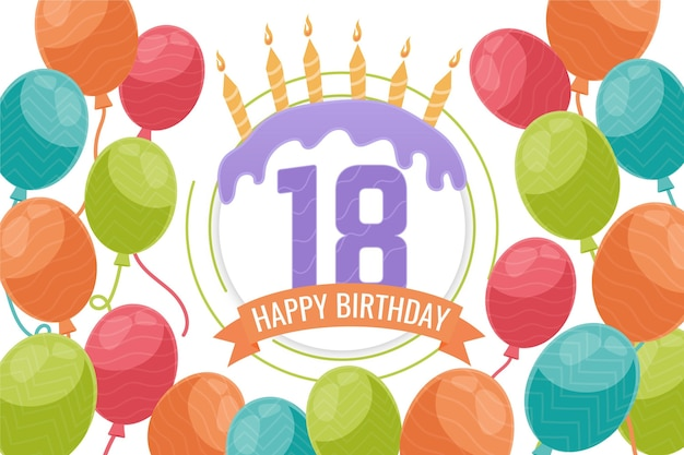 Fundo de feliz aniversário de dezoito anos
