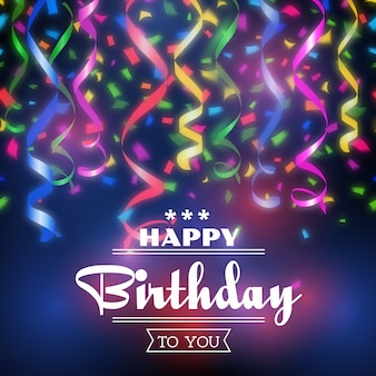 Fundo de feliz aniversário de digitação. celebração de design, decoração de convite de festa