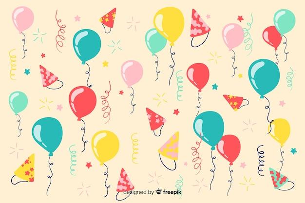 Fundo de feliz aniversário de mão desenhada