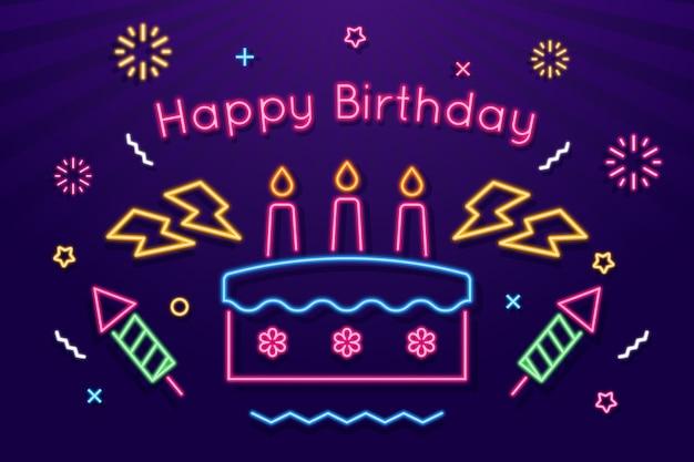 Fundo de feliz aniversário de néon
