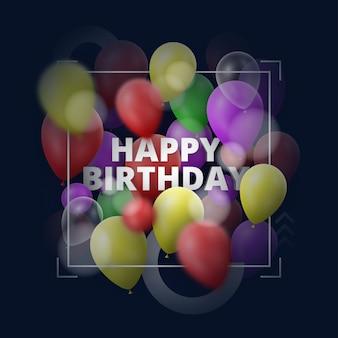Fundo de feliz aniversário design moderno com balões coloridos e efeitos de profundidade de desfoque