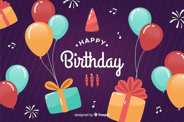 Fundo de feliz aniversário design plano com balões