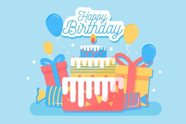 Fundo de feliz aniversário design plano