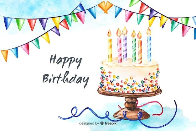 Fundo de feliz aniversário em estilo aquarela