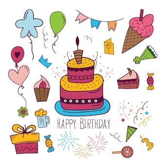 Fundo de feliz aniversário em estilo doodle