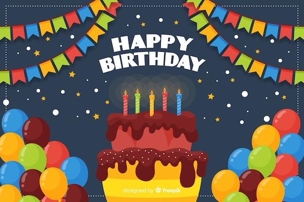 Fundo de feliz aniversário em estilo simples