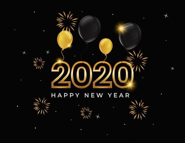 Fundo de feliz ano novo 2020 com balão