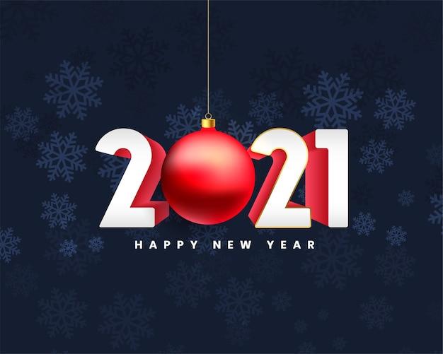 Fundo de feliz ano novo 2021 com bola de natal