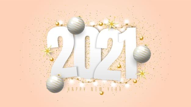 Fundo de feliz ano novo 2021 com bolas de presente, confetes e luzes