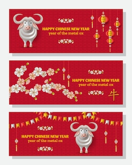 Fundo de feliz ano novo chinês com boi de metal branco criativo, lanternas penduradas. boi de tradução