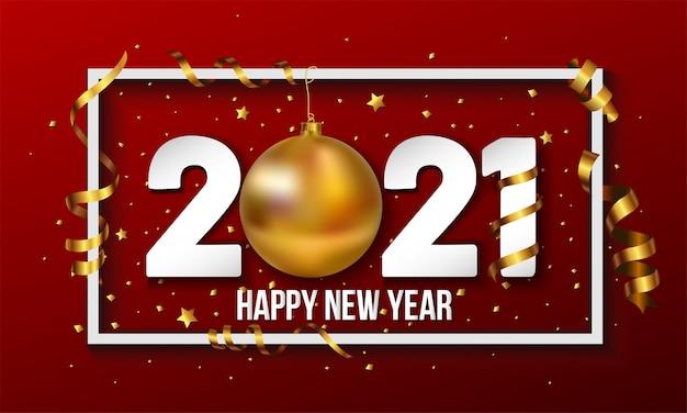 Fundo de feliz ano novo com bugiganga bola de natal dourada e elementos de listras