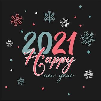 Fundo de feliz ano novo com design de texto decorativo