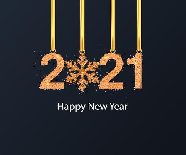 Fundo de feliz ano novo com floco de neve dourado