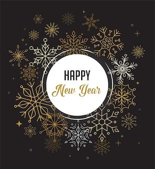 Fundo de feliz ano novo com flocos de neve geométricos modernos e limpos