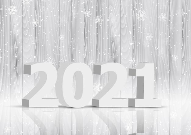 Fundo de feliz ano novo com letras 3d no design de textura de madeira