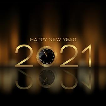 Fundo de feliz ano novo com mostrador de relógio mostrando a hora chegando à meia-noite