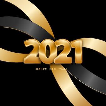 Fundo de feliz ano novo com números dourados e fitas