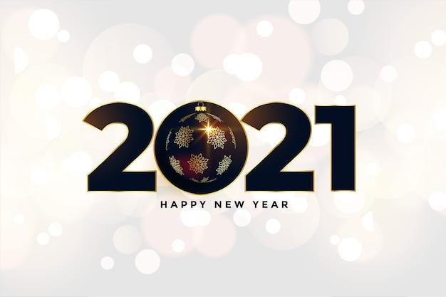 Fundo de feliz ano novo de 2021 com design de bola de natal