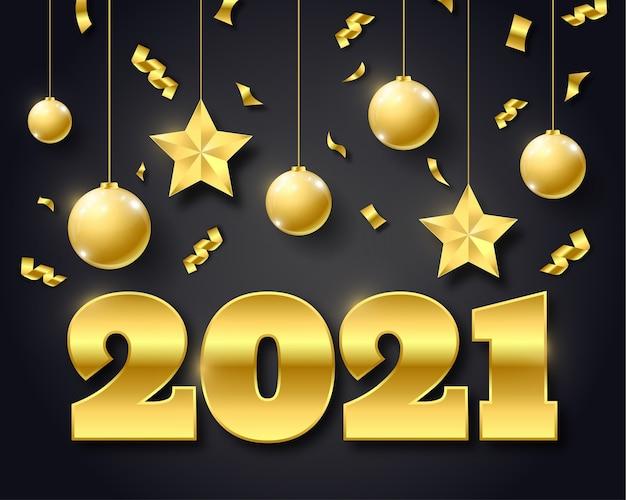 Fundo de feliz ano novo de 2021 com enfeites dourados pendurados