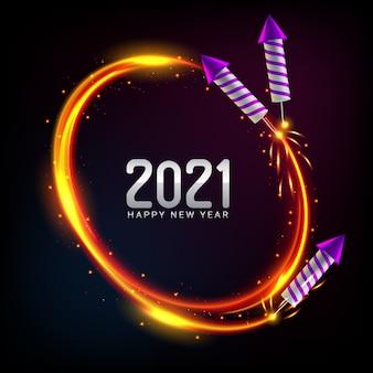 Fundo de feliz ano novo de 2021 com fogos de artifício
